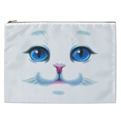 Cute White Cat Blue Eyes Face Cosmetic Bag (XXL)