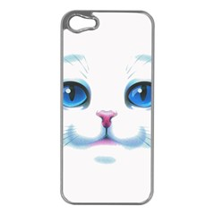 Cute White Cat Blue Eyes Face Apple iPhone 5 Case (Silver)