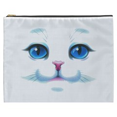 Cute White Cat Blue Eyes Face Cosmetic Bag (XXXL)