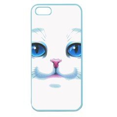 Cute White Cat Blue Eyes Face Apple Seamless iPhone 5 Case (Color)