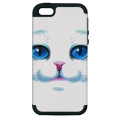 Cute White Cat Blue Eyes Face Apple iPhone 5 Hardshell Case (PC+Silicone)