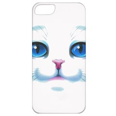 Cute White Cat Blue Eyes Face Apple iPhone 5 Classic Hardshell Case