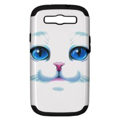 Cute White Cat Blue Eyes Face Samsung Galaxy S III Hardshell Case (PC+Silicone)