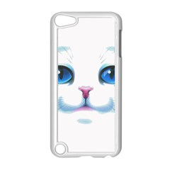 Cute White Cat Blue Eyes Face Apple iPod Touch 5 Case (White)