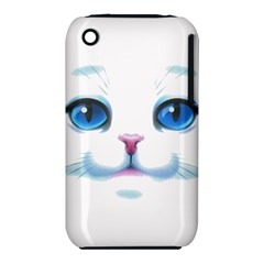 Cute White Cat Blue Eyes Face Apple iPhone 3G/3GS Hardshell Case (PC+Silicone)