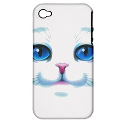 Cute White Cat Blue Eyes Face Apple iPhone 4/4S Hardshell Case (PC+Silicone)