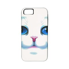 Cute White Cat Blue Eyes Face Apple iPhone 5 Classic Hardshell Case (PC+Silicone)