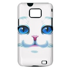 Cute White Cat Blue Eyes Face Samsung Galaxy S II i9100 Hardshell Case (PC+Silicone)