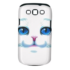 Cute White Cat Blue Eyes Face Samsung Galaxy S III Classic Hardshell Case (PC+Silicone)
