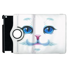 Cute White Cat Blue Eyes Face Apple iPad 3/4 Flip 360 Case