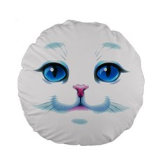 Cute White Cat Blue Eyes Face Standard 15  Premium Round Cushions