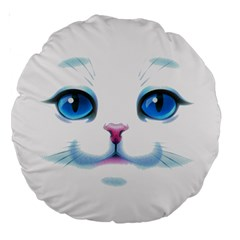 Cute White Cat Blue Eyes Face Large 18  Premium Round Cushions
