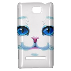 Cute White Cat Blue Eyes Face HTC 8S Hardshell Case