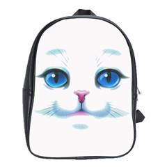 Cute White Cat Blue Eyes Face School Bags (XL)