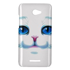 Cute White Cat Blue Eyes Face HTC Butterfly X920E Hardshell Case