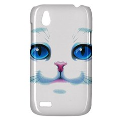 Cute White Cat Blue Eyes Face HTC Desire V (T328W) Hardshell Case