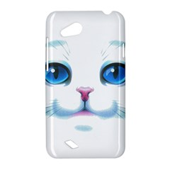 Cute White Cat Blue Eyes Face HTC Desire VC (T328D) Hardshell Case