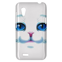Cute White Cat Blue Eyes Face HTC Desire VT (T328T) Hardshell Case