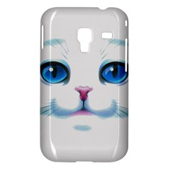 Cute White Cat Blue Eyes Face Samsung Galaxy Ace Plus S7500 Hardshell Case