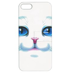 Cute White Cat Blue Eyes Face Apple iPhone 5 Hardshell Case with Stand