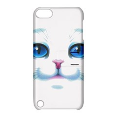 Cute White Cat Blue Eyes Face Apple iPod Touch 5 Hardshell Case with Stand