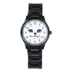 Cute White Cat Blue Eyes Face Stainless Steel Round Watch