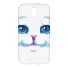 Cute White Cat Blue Eyes Face Samsung Galaxy S4 I9500/I9505 Hardshell Case