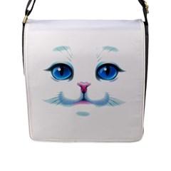 Cute White Cat Blue Eyes Face Flap Messenger Bag (L)