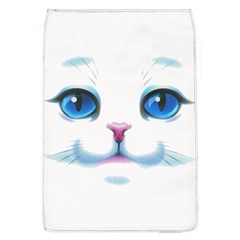 Cute White Cat Blue Eyes Face Flap Covers (L)