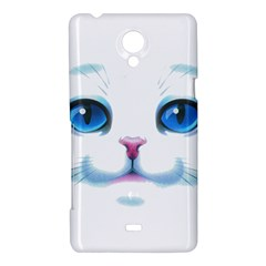 Cute White Cat Blue Eyes Face Sony Xperia T