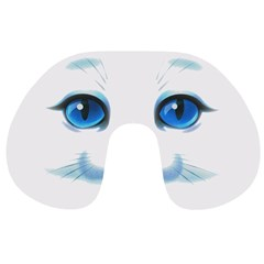 Cute White Cat Blue Eyes Face Travel Neck Pillows
