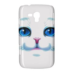 Cute White Cat Blue Eyes Face Samsung Galaxy Duos I8262 Hardshell Case