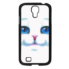 Cute White Cat Blue Eyes Face Samsung Galaxy S4 I9500/ I9505 Case (Black)