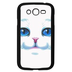 Cute White Cat Blue Eyes Face Samsung Galaxy Grand DUOS I9082 Case (Black)