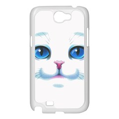 Cute White Cat Blue Eyes Face Samsung Galaxy Note 2 Case (White)