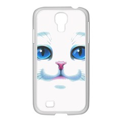 Cute White Cat Blue Eyes Face Samsung GALAXY S4 I9500/ I9505 Case (White)