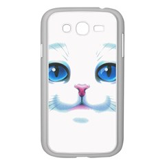 Cute White Cat Blue Eyes Face Samsung Galaxy Grand DUOS I9082 Case (White)