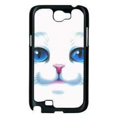 Cute White Cat Blue Eyes Face Samsung Galaxy Note 2 Case (Black)