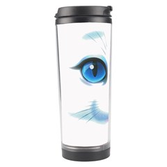 Cute White Cat Blue Eyes Face Travel Tumbler