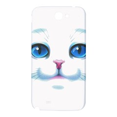 Cute White Cat Blue Eyes Face Samsung Note 2 N7100 Hardshell Back Case