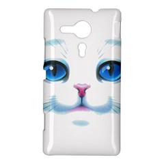 Cute White Cat Blue Eyes Face Sony Xperia SP
