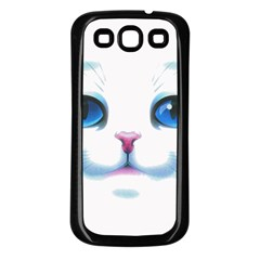 Cute White Cat Blue Eyes Face Samsung Galaxy S3 Back Case (Black)