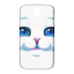 Cute White Cat Blue Eyes Face Samsung Galaxy S4 Classic Hardshell Case (PC+Silicone)