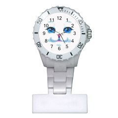 Cute White Cat Blue Eyes Face Plastic Nurses Watch