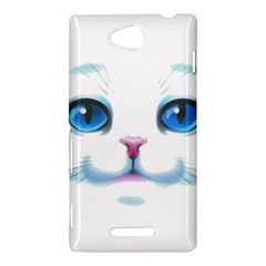 Cute White Cat Blue Eyes Face Sony Xperia C (S39H)
