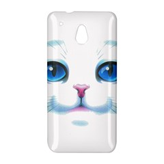 Cute White Cat Blue Eyes Face HTC One Mini (601e) M4 Hardshell Case
