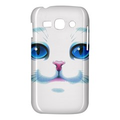 Cute White Cat Blue Eyes Face Samsung Galaxy Ace 3 S7272 Hardshell Case