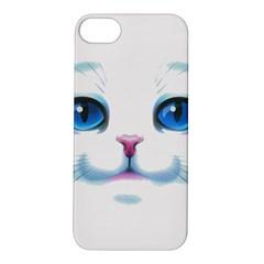 Cute White Cat Blue Eyes Face Apple iPhone 5S/ SE Hardshell Case