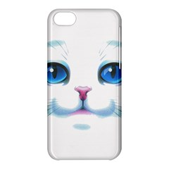 Cute White Cat Blue Eyes Face Apple iPhone 5C Hardshell Case