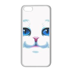 Cute White Cat Blue Eyes Face Apple iPhone 5C Seamless Case (White)